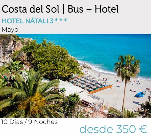 Mayores de 55, Costa del Sol, vacaciones, Bus+hotel, Pensión Completa, Salida desde Extremadura