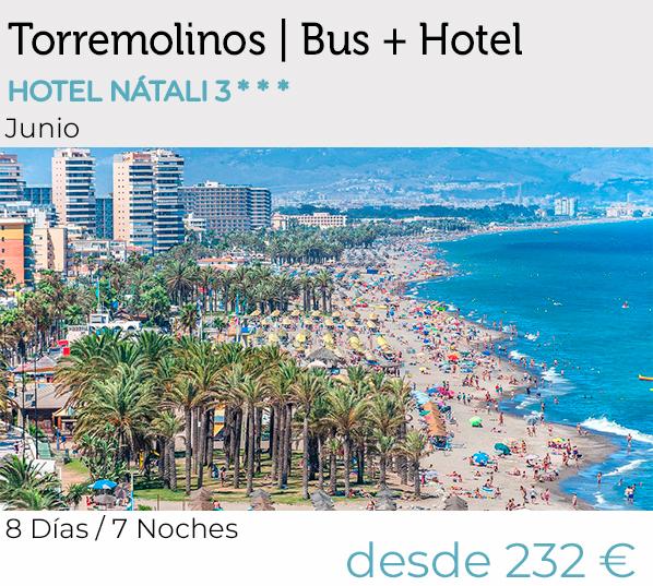 Mayores de 55, Torremolinos, vacaciones, Bus+hotel, Pensión Completa, Salida desde Extremadura